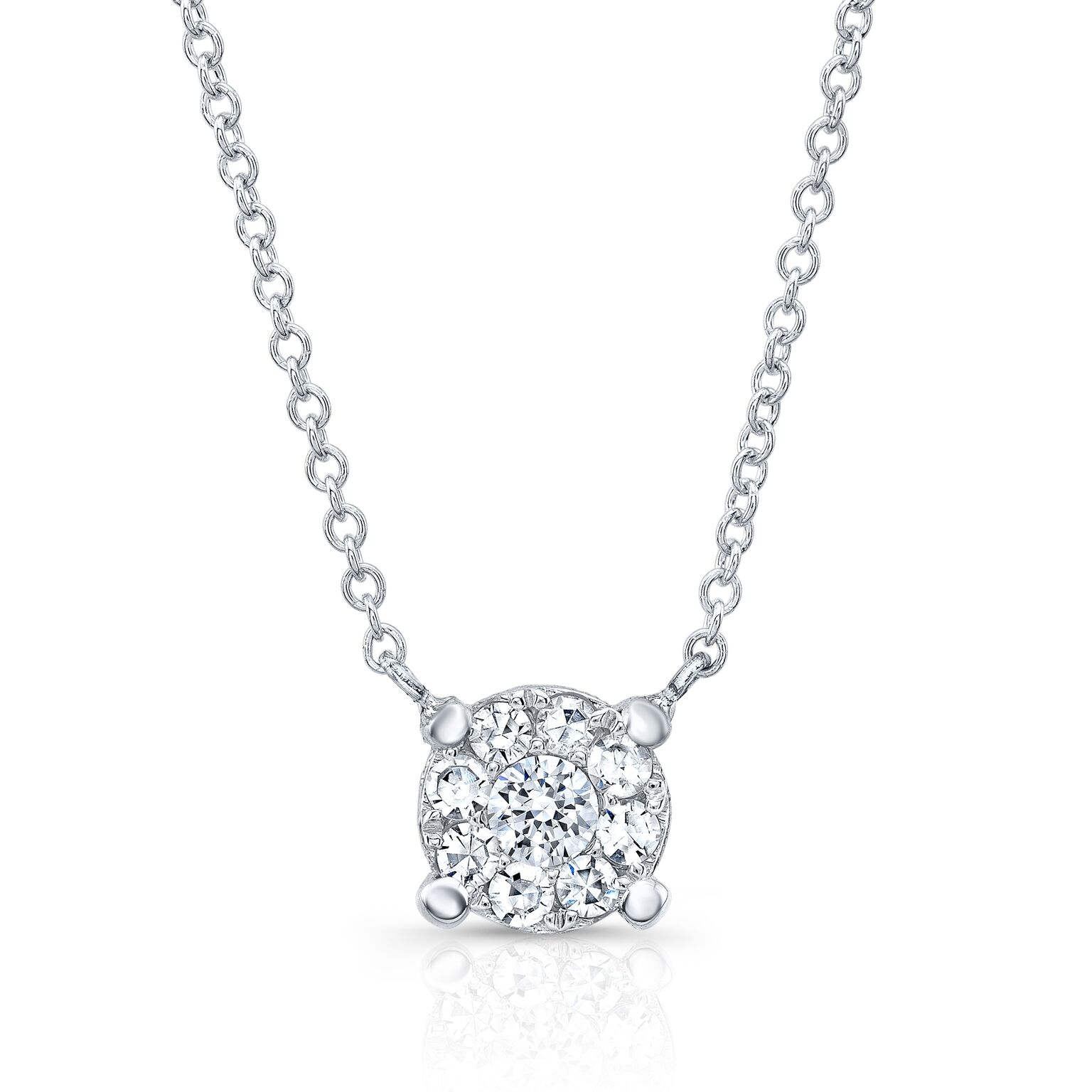 Round Cluster Diamond Necklace
