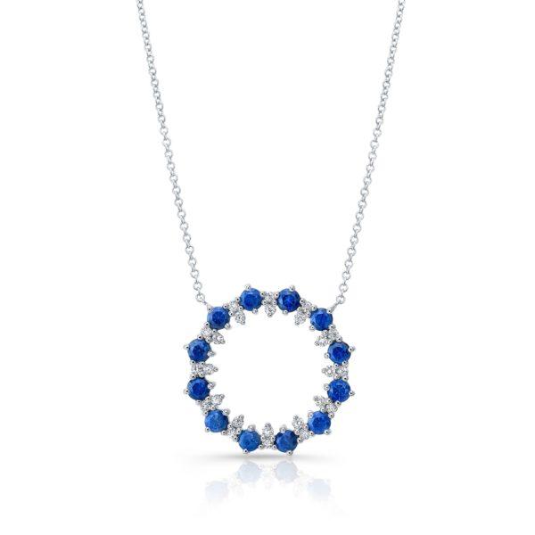 Blue Sapphire Circle Necklace